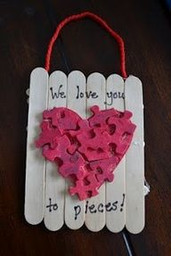 Puzzle pieces heart- if I have a PNO in February (good craft idea) OR God Loves Every Piece of Me