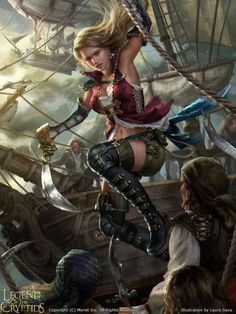 Illustration for Legend of the Cryptids (Sally adv. Pirate Art, Pirate Woman, Character Inspiration, Character Art, Character Design, Fantasy Warrior, Fantasy Women, Fantasy Girl, Fantasy Characters