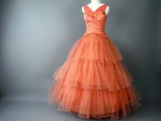 Salmon Ruffled Tulle and Lace Vintage 1950's Prom Dress Size 2, Extra Small. $250.00, via Etsy.