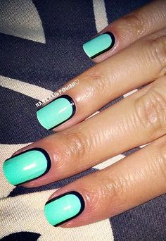 Turquoise + black nails