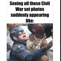"""""""Seeing all these Civil War set photos suddenly appearing like: XD / HAHAHA! Marvel Fan, Marvel Heroes, Marvel Avengers, Dc Movies, Marvel Movies, Bucky And Steve, Romanogers, Captain America Civil War, Hilarious"""