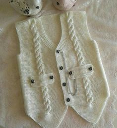 """diy_crafts- """"Knitting inspiration \""""would look great crocheted\"""", \""""Jenny Battiss Barnard\"""", \""""Unique and cute! Baby Knitting Patterns, Knitting For Kids, Crochet For Kids, Knitting Designs, Free Knitting, Crochet Baby, Knitted Baby, Knit Vest, Baby Cardigan"""