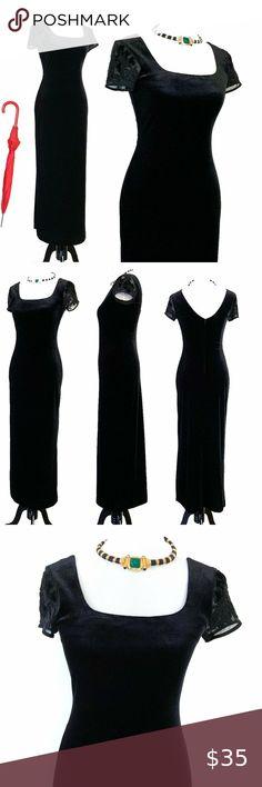 D1-11 NEW Easel Black Velvet Velour Stretch Dress