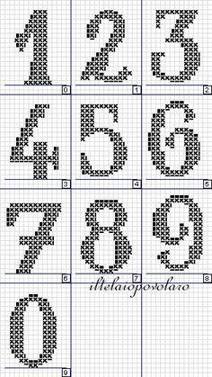 alphabet - broderie - cross stitch - numéros - Point de croix - Blog : http://broderiemimie44.canalblog.com/