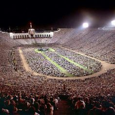 Billy Graham Crusade. Largest Crowd ever in L A Coloseum.