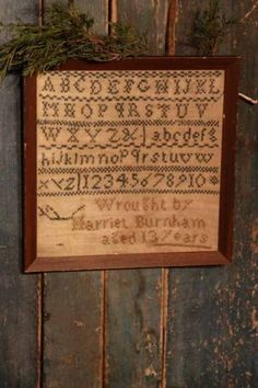 Old Grunged Sampler. Cross Stitch Samplers, Cross Stitching, Cross Stitch Embroidery, Cross Stitch Patterns, Primitive Stitchery, Primitive Crafts, Primitive Christmas, Creative Textiles, Little Stitch