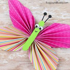 This folded paper butterfly craft is a really fun one to make! You'll only need a few common craft supplies to create these colorful butterflies for spring or summer. They look so bright and cheery hanging up around your house or classroom!  This post contains affiliate links.  Aren't these butterflies adorable? They are …