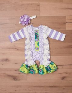 c0de7e47c Peaches 'n Cream Fall Winter 2017 Baby Girl Lavender Fields Romper &  Headband set - lavender and ivory striped knit and damask print with  cheerful lime teal ...