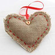 Hessian Heart Decorations - Set of 3