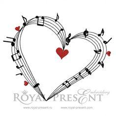"""Дизайн машинной вышивки - """"Love Music"""""""