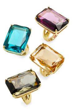 Kate Spade New York emerald cut rings.