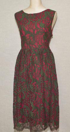 ModCloth Subtly Splendid Two Tones Lace Dress Burgundy/Olive Green Fits 1X  #Collectif #TeaDressALineDress #Formal