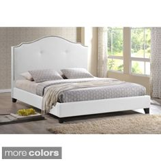 Marsha Scalloped White Modern Bed with Upholstered Headboard
