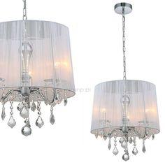 LAMPA wisząca CORNELIA MDM-2572/3 W Italux OPRAWA abażurowa ZWIS z kryształkami glamour organza mgiełka crystal biała