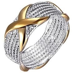 "BOHG Jewelry Womens 925 Sterling Silver Plated X Criss Cross Eternity Ring Gold With Bag Printed ""BOHG"""