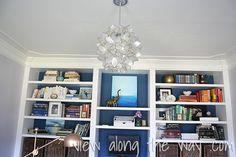 Office with diy capiz shell pendant hanging light