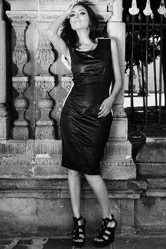 Vestido Negro blanco tubo black dress fashion designer couture