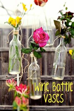 Upcycle old wine bottles into hanging flower vases for the patio!