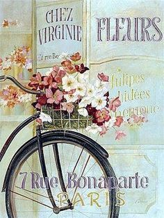 Laminas decoupage - bike with flower basket Vintage Paris, Vintage Diy, Vintage Labels, Decoupage Vintage, Images Vintage, Vintage Pictures, Paris Pictures, Vintage Photographs, Collages D'images