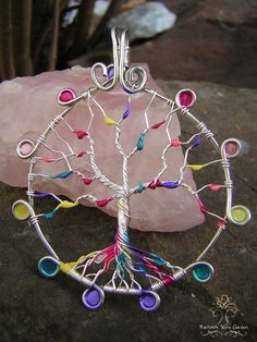Arcobaleno pioggia doccia acquerelli albero della vita filo
