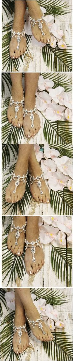 Silver rhinestone barefoot sandals that look like a tiara! Feel Royal at your beach wedding. Foot Jewelry by Catherine Cole Studio
