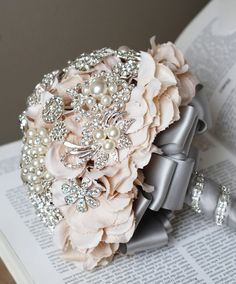 vintage style wedding bouquets | Deposit on Vintage Bridal Brooch Bouquet Pearl by LXdesigns, $144.00