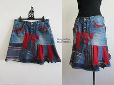 Denim Recycled Skirt, Patchwork Denim, Boho Skirt, Gypsy Skirt, Hippie Skirt, Recycled Clothing,Folk Skirt, Appliqued Skirt