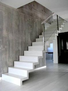 How To Make Concrete Stairs Design 50 Ideas Deck Stair Railing, Concrete Staircase, Floating Staircase, Wood Stairs, Curved Staircase, Entryway Stairs, House Stairs, Home Stairs Design, Interior Stairs