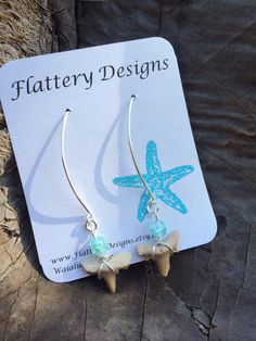 Shark Tooth Earrings by FlatteryDesigns on Etsy Shell Jewelry, Unique Jewelry, Shark Tooth Necklace, Teeth, Handmade Gifts, Earrings, Etsy, Design, Kid Craft Gifts