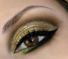 Gold & green eye makeup