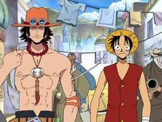 Luffy and Ace in Arabasta. Lol Luffy looks so little!!!