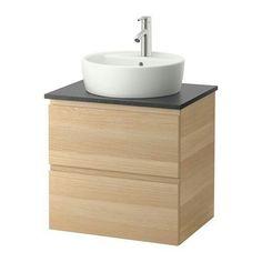 Ikea Baños Lavabos | Lavabo Sobre Encimera Blanca Y Mueble De Madera Decoracion Banos