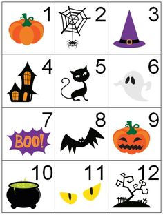 Counting Coconuts: Calendar Cards: Halloween