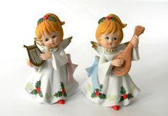 Homco Christmas Angels Pair Musical Mandolin Harp Holly Porcelain Figurines Vtg #Homco