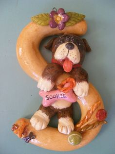 Hand made saltdough letter for hanging up, personalised. My bootiful Boxer!