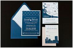 Kendal & Patrick's Custom Wedding Paper Goods | August 28, 2013 | Virginia Wedding Invitations | Custom Map | Navy, Gray & Pink | Dots | Norfolk City Skyline