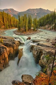 Sunwapta Falls. Sunwapta Falls is a waterfall of the Sunwapta River located in Jasper National Park, Canada. There are actually two falls, a lower and an upper one. The one most people see is the upper falls as access is easy. The lower falls are a short distance away.