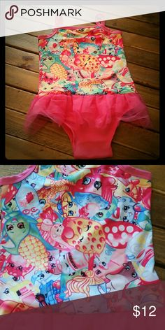 Shopkins one piece Adorable swimsuit with tulle attached. NWT from my children's boutique Swim One Piece