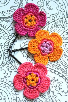 Crochet Daisy Flower Hair Pins ORANGE CRUSH by CatWomanCrafts, $10.00