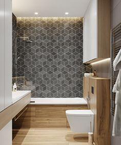 Best Kitchen Countertops And Backsplash Projects Ideas - My Home Decor Grey Bathroom Tiles, Hall Bathroom, Grey Bathrooms, Bathroom Tubs, Bathroom Beach, Shower Tiles, Bathtub Shower, Bathroom Colors, Minimalist Bathroom Design