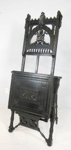 Amazing Antique Victorian, carved & ebonized easel..