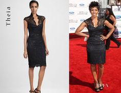 Angela Bassett's Theia Lace Cocktail Dress now available at Neiman Marcus