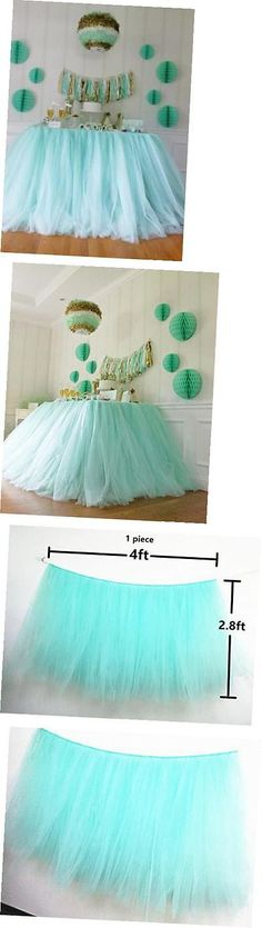 Tulle 20942: Tutu Table Skirt , Mint Tulle Tutu Table Skirt Decor, Birthday Event Wedding -> BUY IT NOW ONLY: $35.5 on eBay!