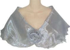 Amazon.com: Sheer Silver Organza Lightweight Evening Wrap Capelet for Prom Wedding Bride: Clothing