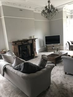 Farrow and ball cornforth white walls wevet woodwork and railings radiators livingroom for Farrow and ball railings living room
