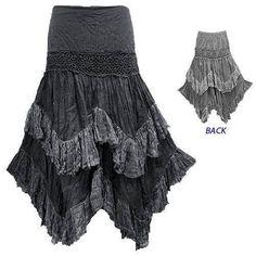 Boho Hippy Gypsy Peasant Crochet Zig Zag Ruffle Crinkle Cotton Skirt G63 | eBay