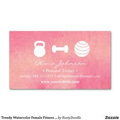 Trendy Watercolor Female Fitness Personal Trainer Double-Sided Standard Business Cards (Pack Of 100)