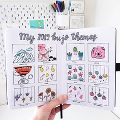 My 2019 themes. Bullet Journal Headers, Bullet Journal Aesthetic, Bullet Journal Notebook, Bullet Journal Spread, Bullet Journal Layout, Bullet Journal Inspiration, Bujo, Journal Themes, Journal Ideas