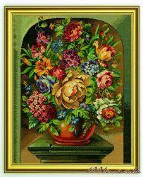Stickbild Blumen     63x79cm  , Gobelin