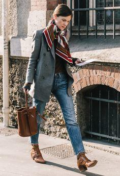 Blazer, scarf, bucket bag, jeans, booties. Love